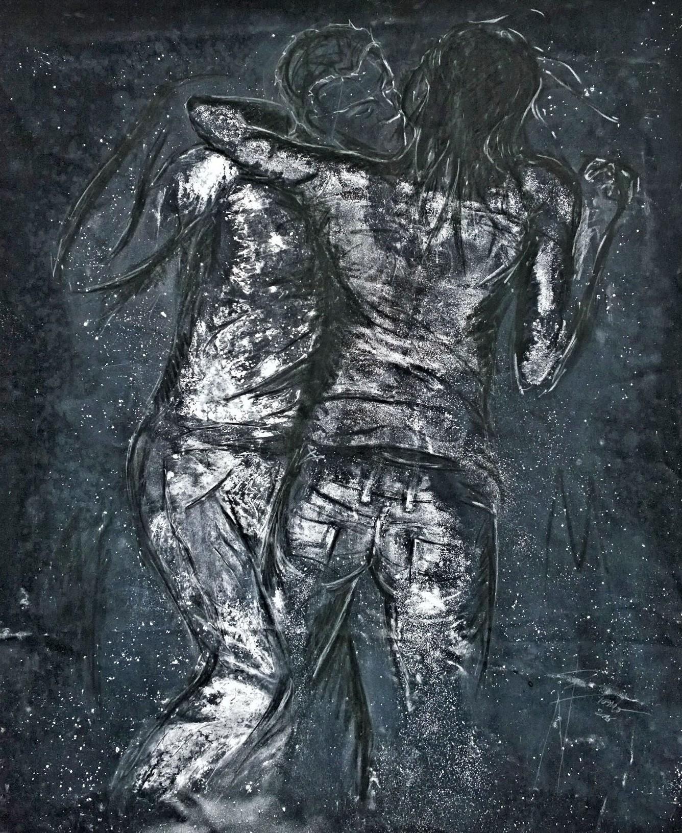 Nazareno Biondo Bacio polvere di marmo su tela 160x125cm, 2016