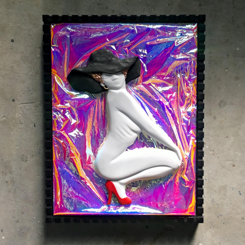 Nazareno Biondo Elegant Kiss marble on frame, 85x65x7cm, 2016