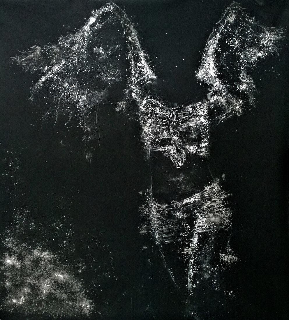 Nazareno Biondo Goddess of Victory 140x140cm polvere di marmo su tessuto nero, 2013