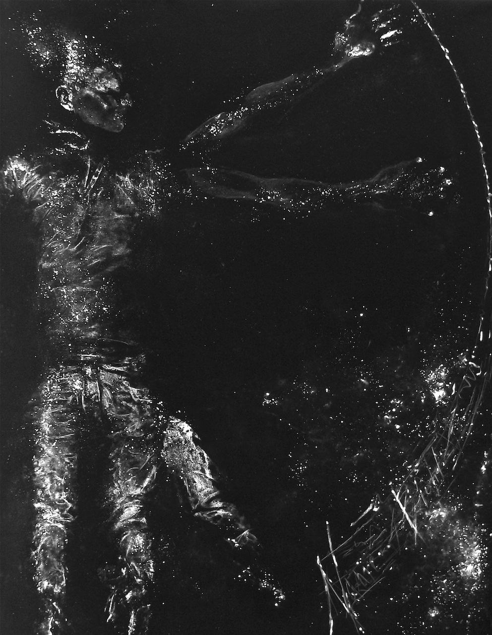 Nazareno Biondo, Man or Stars polvere di marmo su tessuto nero, 175×140 cm, 2013