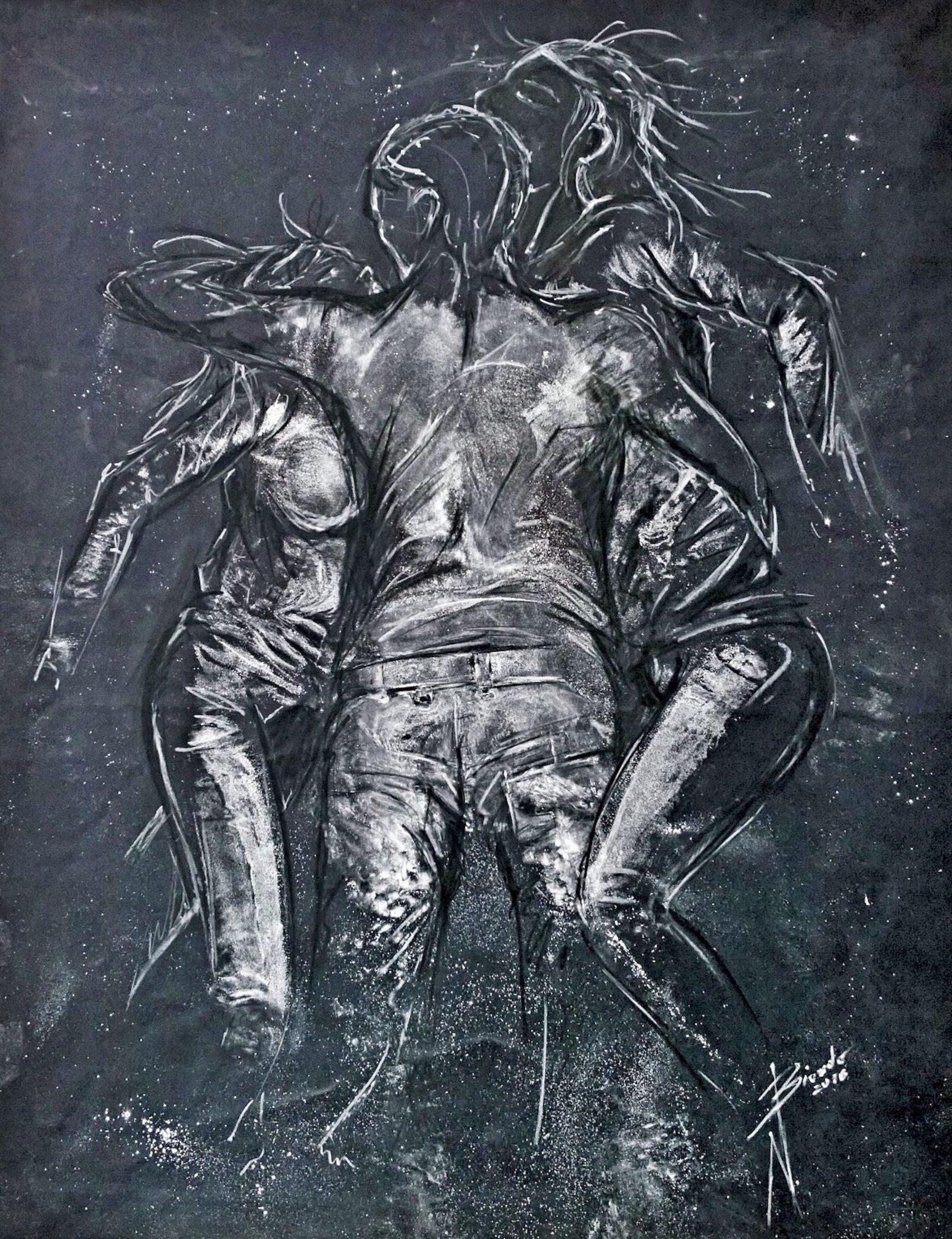 Nazareno Biondo Ratto delle Sabine marmo su tessuto 160x125cm 2016