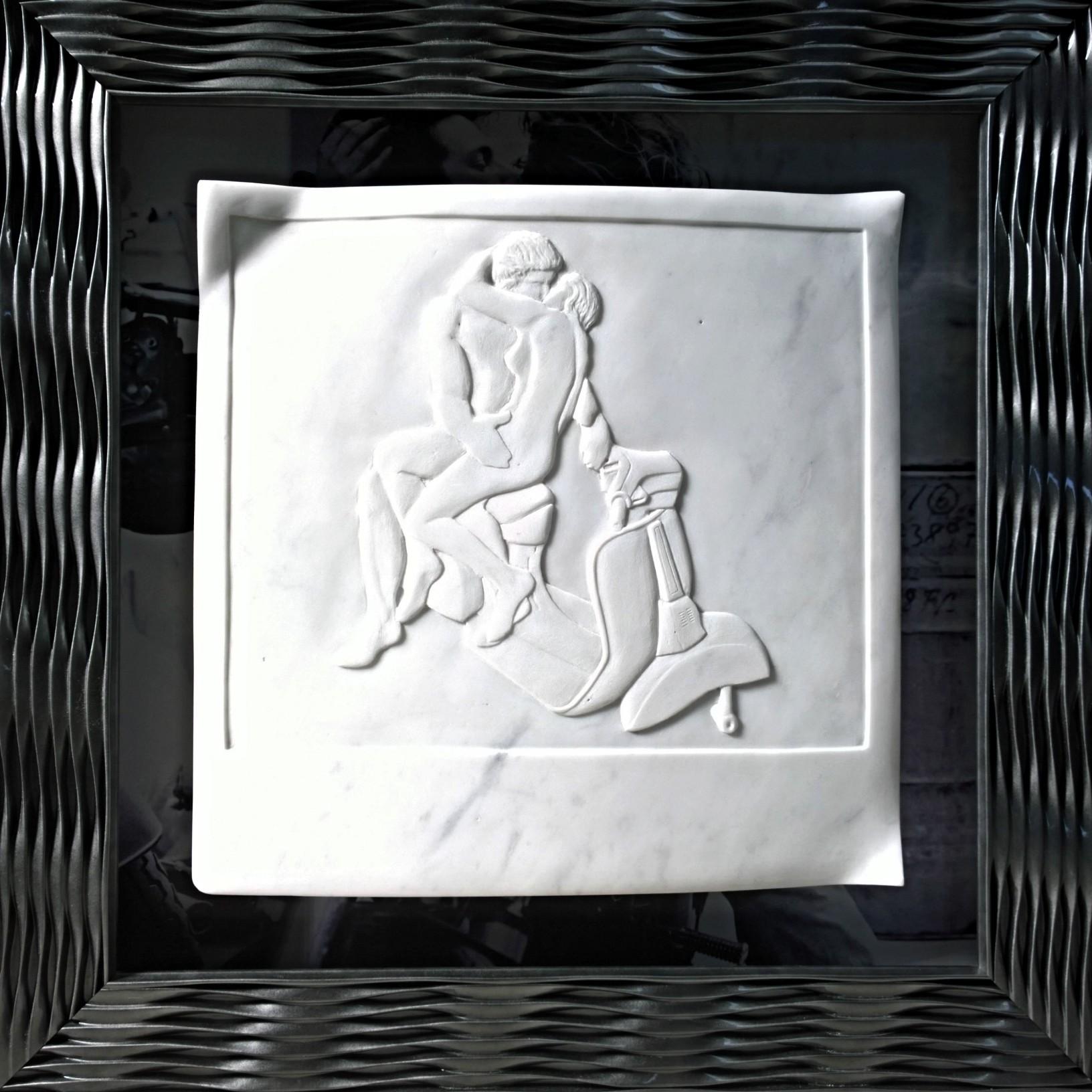 Nazareno Biondo lovers vespa marble on frame, 61x61x8cm, 2017