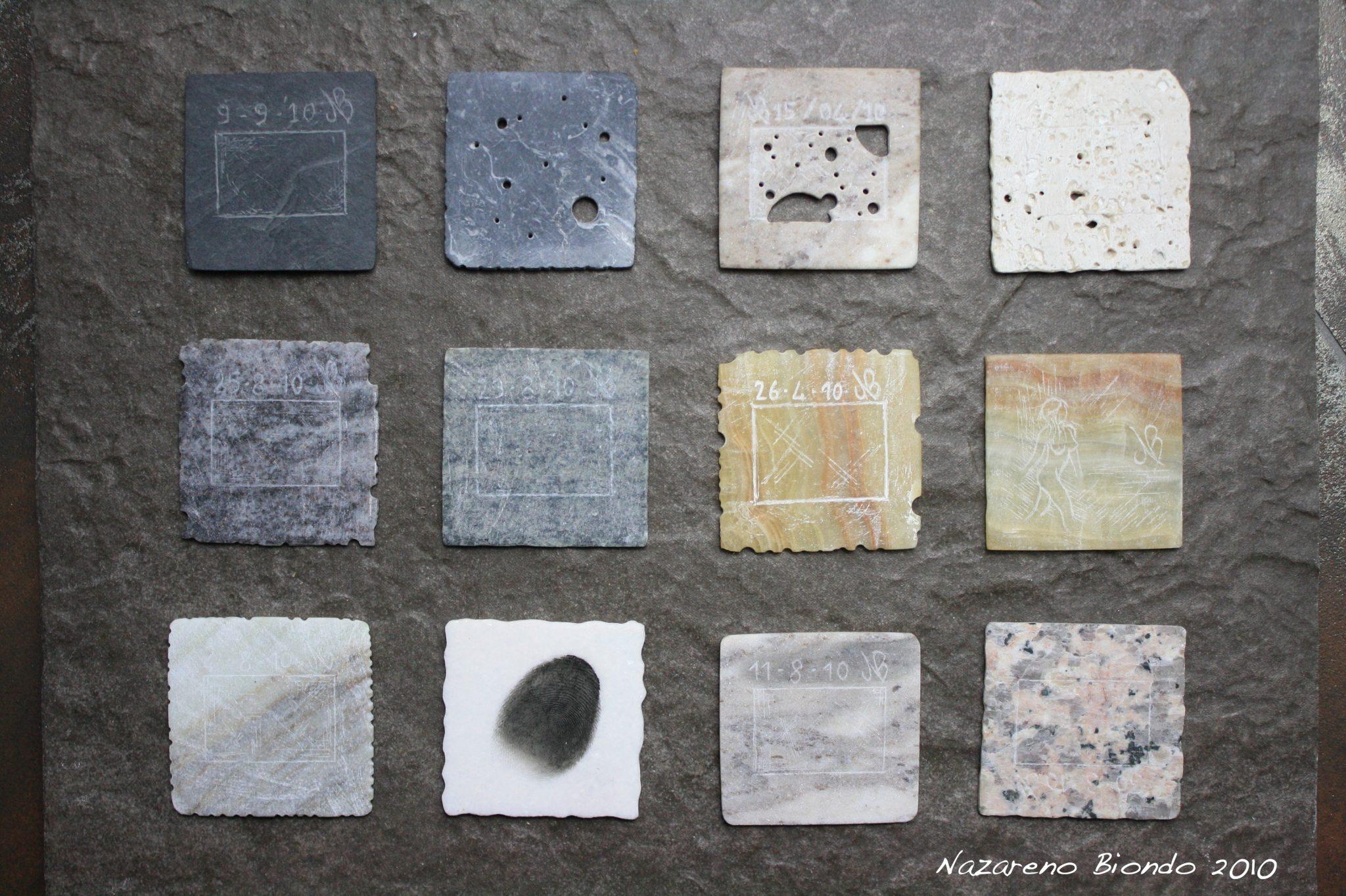 Nazareno Biondo, diapositive proiettabili riprodotte in vari tipi di marmo. light through the stone. 2010. 5x5x0,2 cm